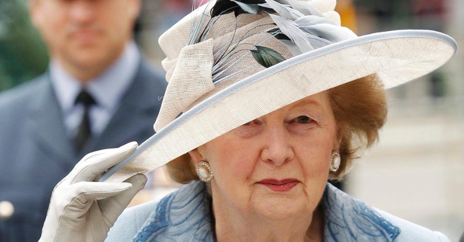 19.set.2010 - Margaret Thatcher chega para evento de Ação de Graças na abadia de Westminster, em Londres, no Reino Unido