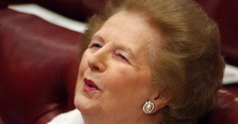 23.nov.2004 - Margaret Thatcher ouve discurso da Rainha Elizabeth 2ª em Westminster, Londers, Inglaterra. Thatcher foi primeira-ministra do Reino Unido de 1979 a 1990, o maior período contínuo no governo para um primeiro-ministro britânico desde o início do século 19