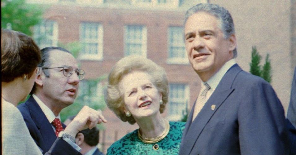 7.mai.1995 - Margaret Thatcher se encontra com o presidente brasileiro, Fernando Henrique Cradoso, em Londres. À esquerda estão a primeira-dama Ruth Cardoso e o embaixador Rubens Barbosa