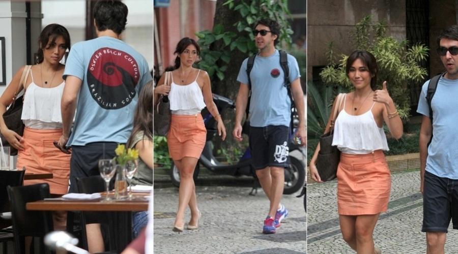 8.abr.2013 - Daniele Suzuki almoçou com um amigo, o maquiador Ricardo Tavares, em um restaurante na zona sul do Rio
