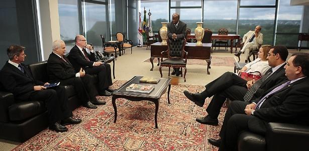 Joaquim Barbosa recebeu representantes das três principais associações de magistrados do país em seu gabinete no STF