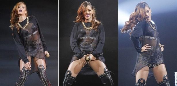 """Com show de seu novo disco, """"Unapologetic"""", Rihanna cantou os novos sucessos """"Stay"""" e """"Diamonds"""", e abusou da sensualidade durante apresentação no Staples Center, em Los Angeles. Com vestido preto transparente, ela dançou, mostrou a língua para o público e chegou a tocar a própria virilha, em um gesto sexual"""