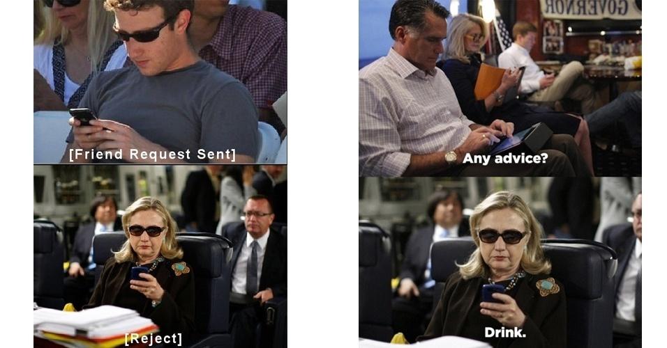 """Tumblr que imagina mensagens """"ignorantes"""" de Hillary Clinton, ex-secretária de Estado dos Estados Unidos, ganha prêmio de melhor microblog do mundo pelo Shorty Awards (premiação que escolhe os melhores perfis de redes sociais e blogs). Nas imagens acima, retiradas do textsfromhillaryclinton.tumblr.com, Hillary rejeita uma amizade com Mark Zuckerberg (fundador do Facebook) e recomenda a Mitt Romney, ex-candidato à presidência dos EUA pelo partido republicano, que beba"""