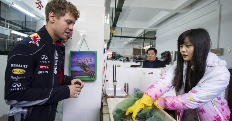 10.abr.2013 - Sebastian Vettel observa sapos postos à venda durante visita a um mercado de Xangai antes da corrida no final de semana