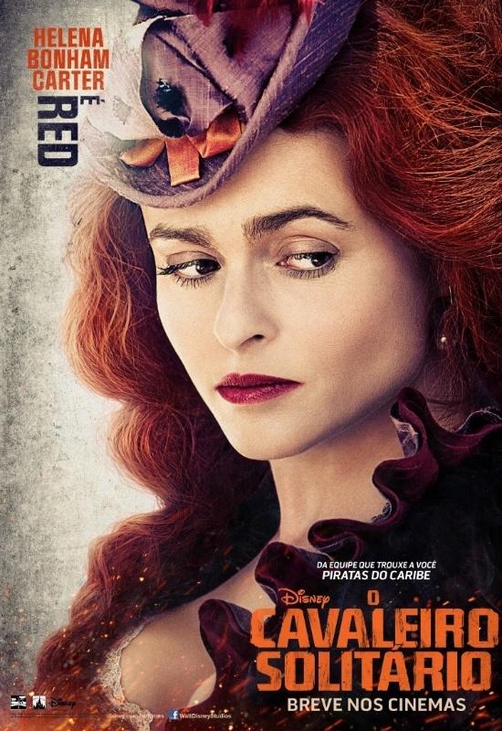 """Pôster nacional do filme """"O Cavaleiro Solitário"""" mostra Helena Bonham Carter como a personagem Red"""