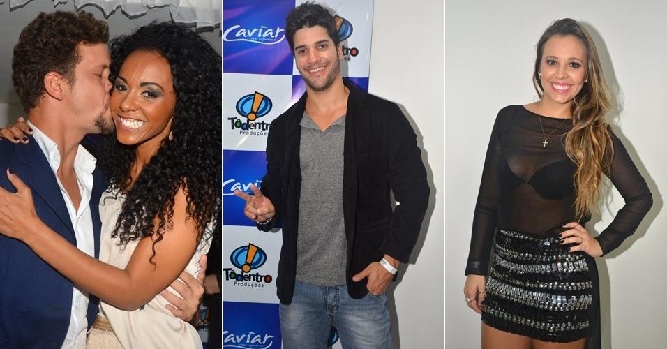 9.abr.2013 - Os ex-BBBs Aslan, Aline e Marcello e a campeã da