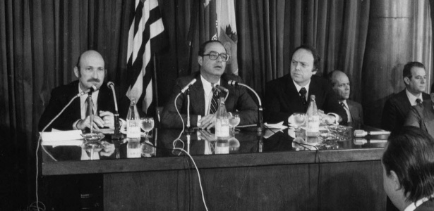 Paulo Maluf (ao centro) foi parceiro político de José Maria Marin (à direita)