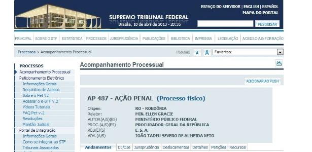 Imagem do site do STF mostra a ação penal 487, cujo réu só é identificado pelas iniciais E.S.A.