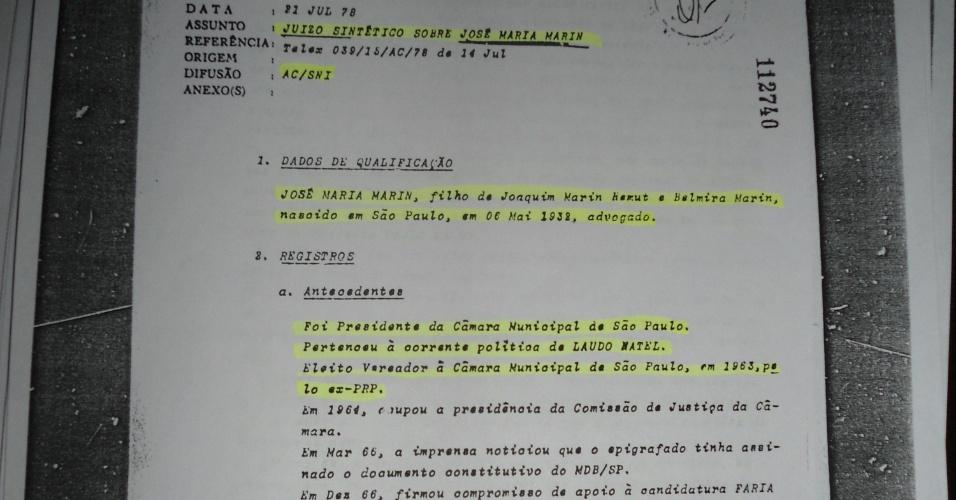 Segunda página da ficha de Marin no SNI