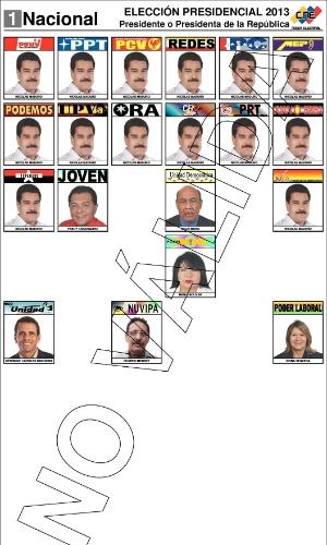 11.abr.2013 - O CNE (Conselho Nacional Eleitoral), o tribunal eleitoral venezuelano, divulgou nesta quinta-feira (11) o formato da cédula de votação com a qual os venezuelano elegerão o sucessor de Hugo Chávez nas eleições do próximo domingo (14)