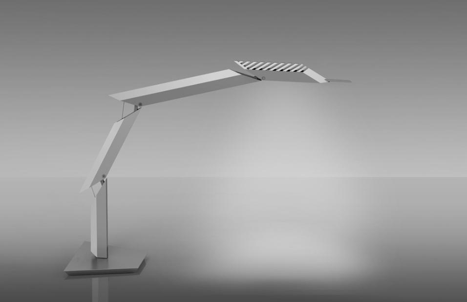 Daniel Libeskind assina a minimalista luminária Paragon, para a Artemide. Para mesas, o objeto é articulável em diversos níveis