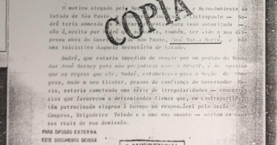 Ficha do SNI sobre acusação de Abreu Sodré contra José Maria Marin