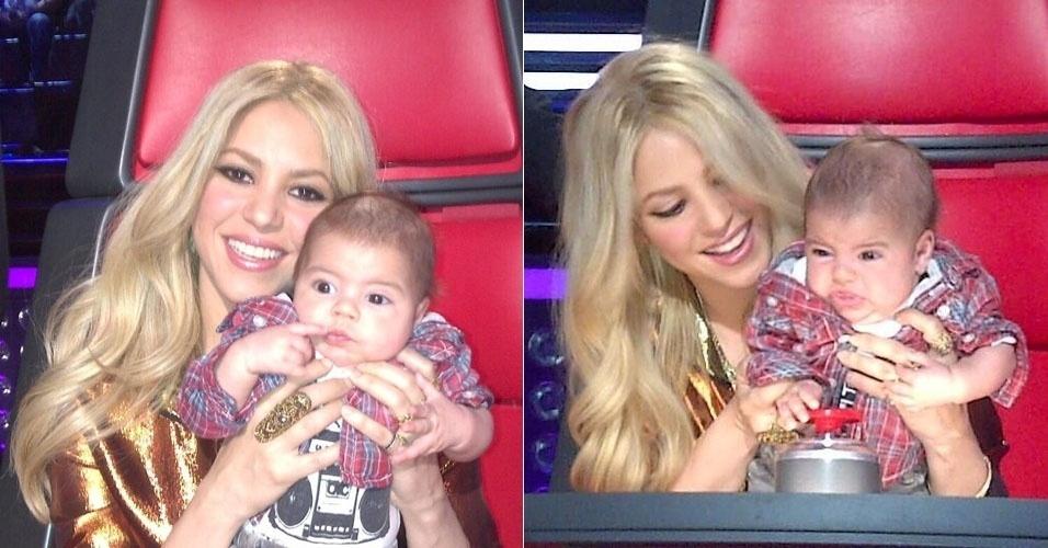 11.abr.2013 - Shakira leva o filho Milan para acompanhar as gravações do reality