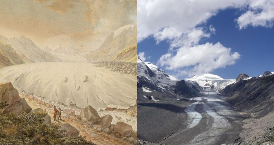12.abr.2013 - A geleira do Pasterze, no maciço de Hohe Tauern e do Grossglockner (sul da Áustria) retrocedeu 97,3 metros em 2012, o maior degelo de uma geleira registrado desde 1879. As geleiras austríacas recuaram 17 metros em média em 2012. À esquerda a geleira em imagem de 1799