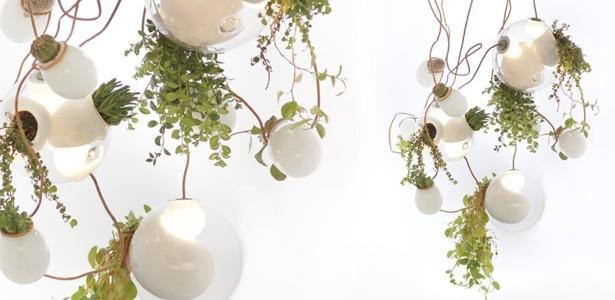 As luminárias da Bocci são feitas com vidro, artesanalmente, em Vancouver (Canadá). A 38, do designer Omer Arbel, combina a aplicação de pontos de vidro leitoso com nichos para o cultivo de plantas