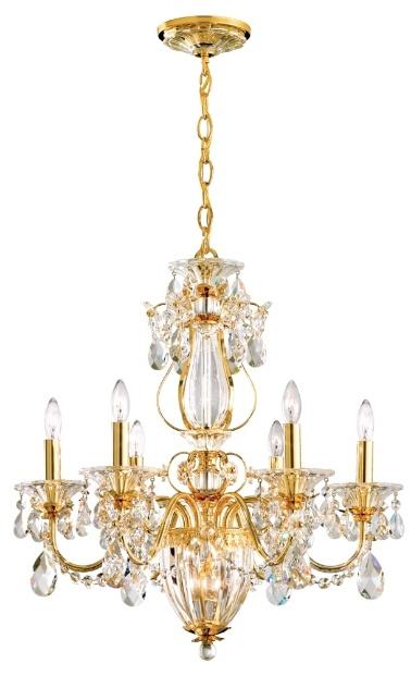 O lustre Calima, da Schonbek, possui Cristais Spectra e Swarovski em sua composição e duas possibilidades de acabamento: dourado e em prata polida