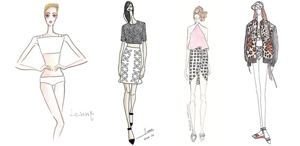 Croquis de Lenny, Iódice, Andrea Marques e Espaço Fashion para o Verão 2014. As peças serão apresentadas durante o Fashion Rio - Divulgação