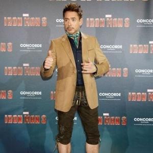 15.abr.2013 - O ator Robert Downey Jr. comparece a evento de divulgação do filme na Alemanha