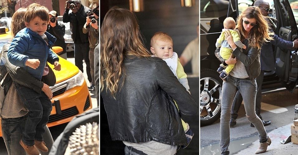 Gisele Bundchen tenta evitar o assdio dos paparazzi com os filhos