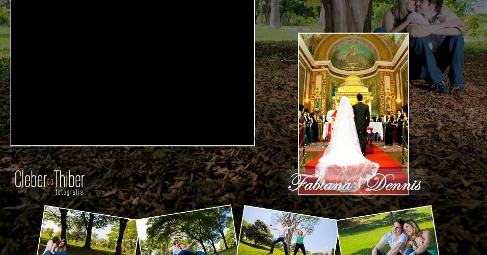 Fotolembrança com imagens dos noivos e espaço para o clique dos convidados; da Cleber Thiber Fotografia (www.thiberfotografia.com.br), a partir de R$ 7 reais por fotolembrança. Preço consultado em abril de 2013 e sujeito a alterações