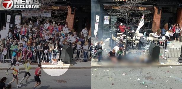 Pacote que supostamente conteria uma das bombas que explodiu durante a Maratona de Boston é flagrado em fotografia (à esq.); a outra imagem teria sido feita momentos após a explosão, a segunda dos atentados