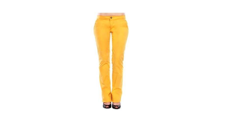 Calça amarela de alfaiataria; R$ 128, na Sommer (www.sommerland.com.br). Preço pesquisado em abril de 2013 e sujeito a alterações