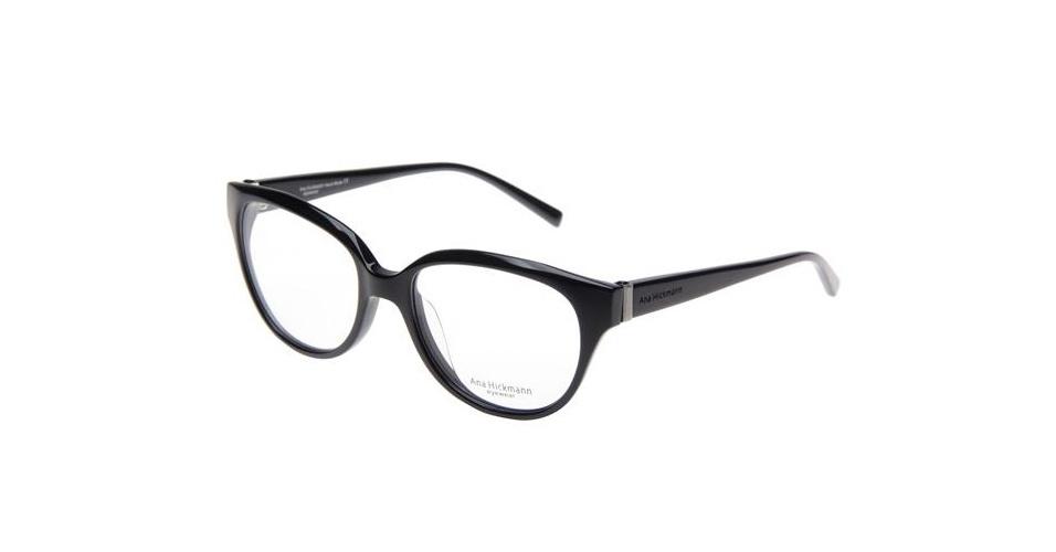 Óculos com armação preta; R$ 449,99, na Ana Hickmann (www.anahickmann.com.br). Preço pesquisado em abril de 2013 e sujeito a alterações