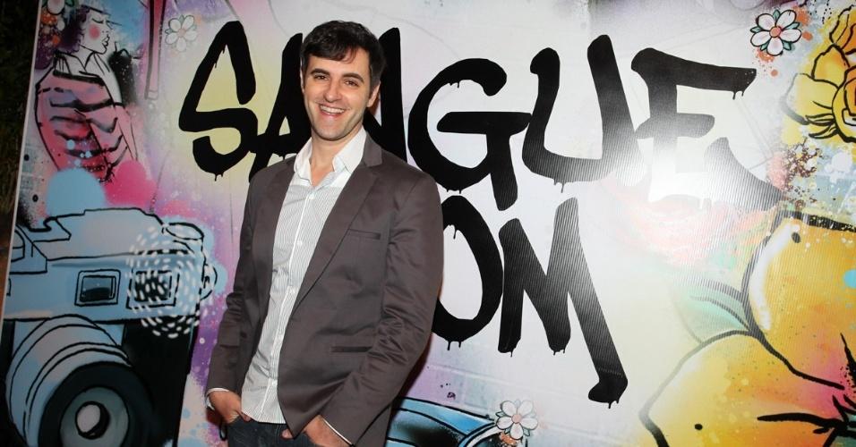 """17.abr.2013 - Rodrigo Lopez na festa de lançamento de """"Sangue Bom"""" em São Paulo"""