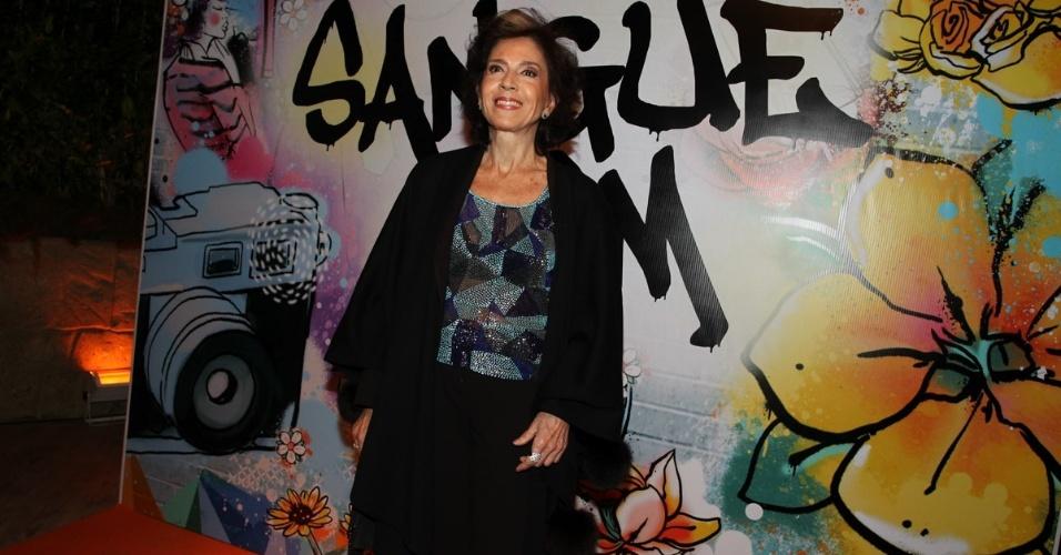 """17.abr.2013 - Yoná Magalhães na festa de lançamento de """"Sangue Bom"""" em São Paulo"""