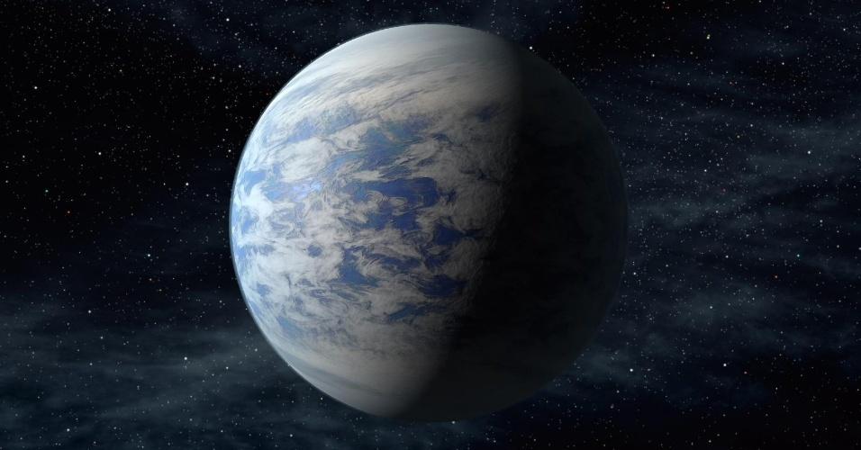 18.abr.2013 - O Kepler-69c (em concepção artística na imagem) é tido como um super-Vênus, a 2.700 anos-luz da Terra, é 70% maior do que nosso planeta e está na zona habitável de seu sistema planetário, com órbita de 242 dias, o que o coloca na região que fica Vênus em nosso Sistema Solar