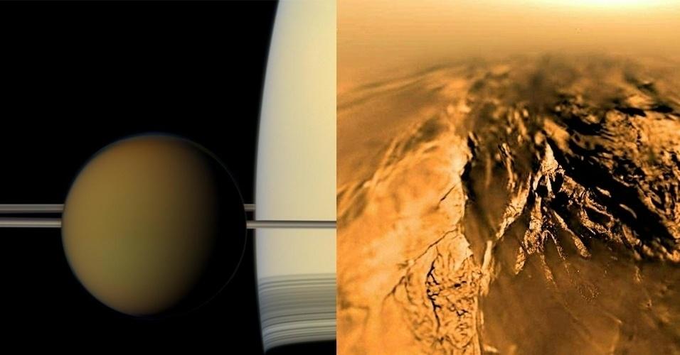 Titã, a maior lua de Saturno, também possui água e por isso é tida como um local possivelmente habitável. Entretanto, possui muito metano, o que obrigaria a existência de uma forma de vida diferente da que encontramos na Terra. Ela também possui atmosfera e elementos químicos complexos como hidrocarbonetos