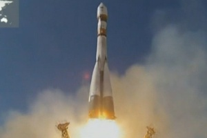 Cpsula espacial russa aterrissa com animais a bordo  (Foto: Roscosmos)