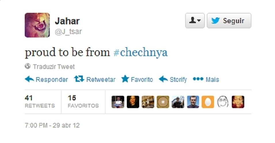 """19.abr.2013 - """"Orgulho de ser da #Tchetchênia"""", escreveu o adolescente Dzhokhar Tsarnaev em sua conta no Twitter em 29 de abril de 2012, aproximadamente um ano antes da explosão na maratona de Boston. Segundo amigos, o perfil no microblog é dele. Em sua página no site, o adolescente cita letras de rap e defende o Islã, entre outras mensagens"""