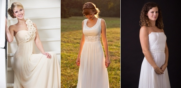 Três modelos de vestidos de noiva ao estilo deusa grega