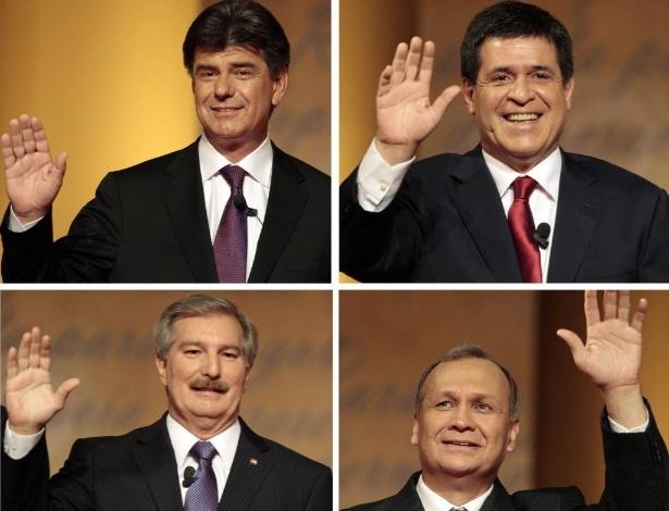 20.abr.2013 - Imagem com os candidatos à Presidência do Paraguai, acima  e à esqueda,  Efraín Alegre, à direita, Horácio Cartes, abaixo e à esquerda, Miguel Carrizosa, e à direita,  Mario Ferreiro. As eleições ocorrem neste domingo (21)