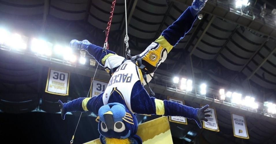 21.abr.2013 - Mascote do Indiana Pacers faz acrobacia durante o jogo da equipe contra o Atlanta Hawks pelos playoffs da NBA