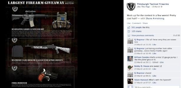 Página da Pittsburgh Tactical Firearms no Facebook antes de sair do ar