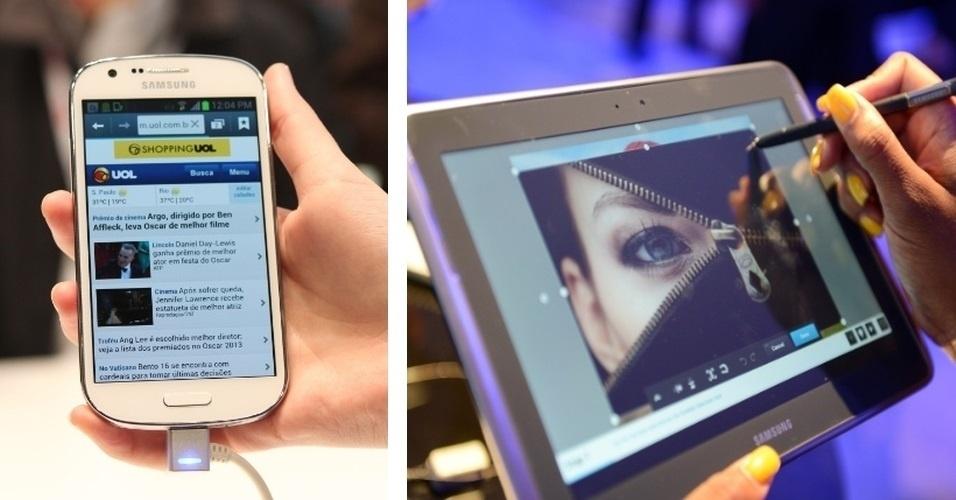 23.abr.2013 - A Samsung reforçou o número de aparelhos com 4G da marca no Brasil, que já conta com o Galaxy SIII. O Galaxy Express (à esquerda) chega com tela de 4,5 polegadas, Android 4.1, 8 GB de memória e preço sugerido de R$ 1.349. O tablet Galaxy Note 10.1 4G (à direita) possui tela de 10.1, 16 GB de memória interna, Android 4.0 e preço sugerido de R$ 2.199