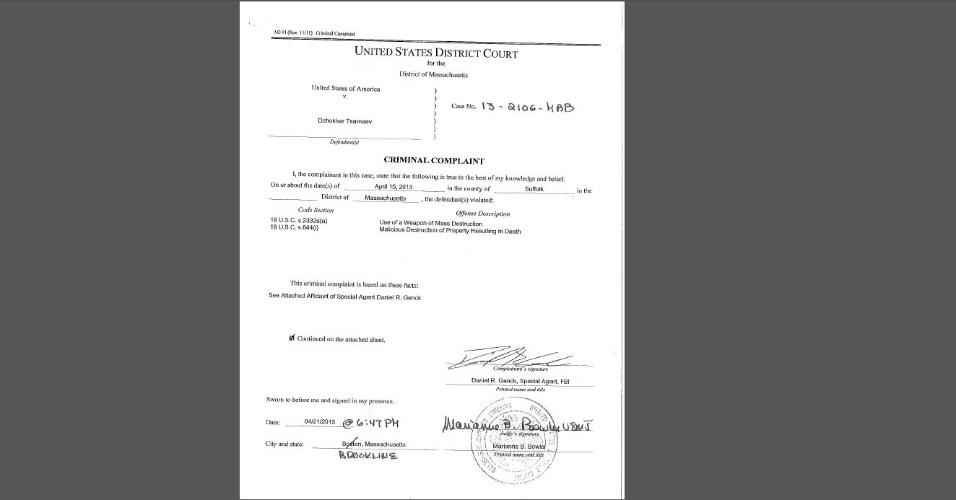 23.abr.2013 - Documento tornado público pela Justiça dos Estados Unidos traz a descrição do FBI de provas contra os irmãos suspeitos de terem executado o atentado em Boston