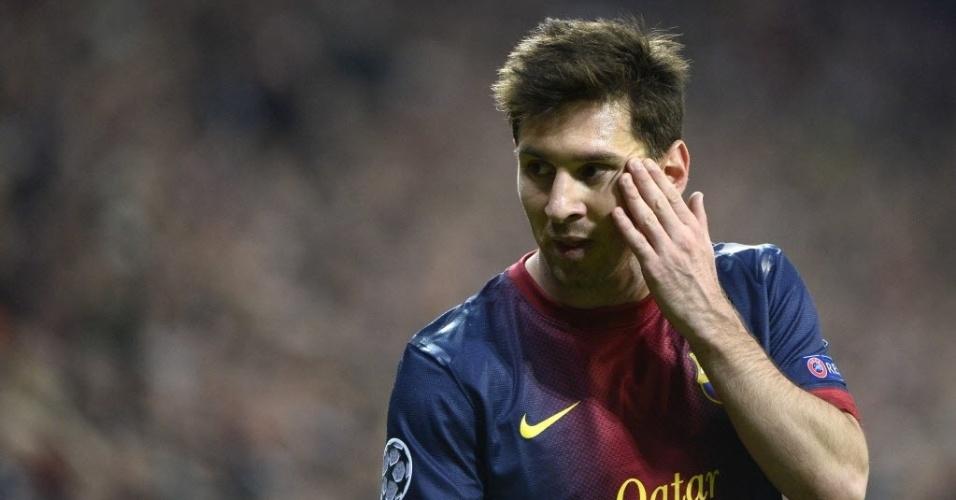 23.abr.2013 - Messi durante a partida entre Barcelona e Bayern de Munique pela Liga dos Campeões