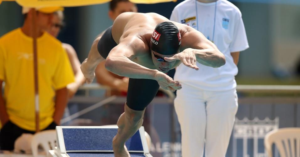 23.abr.2013 - Thiago Pereira larga na prova dos 100m borboleta do Troféu Maria Lenk