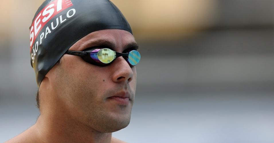 23.abr.2013 - Thiago Pereira liderou as eliminatórias dos 100m no Troféu Maria Lenk