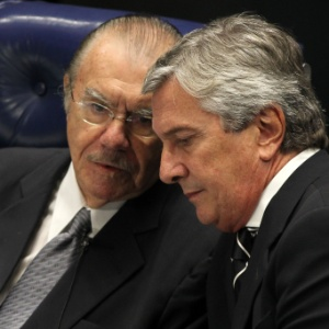 Sarney participa, ao lado de Fernando Collor de Mello, da sessão do Senado que elegeu Renan Calheiros (PMDB-AL) como novo presidente da Casa, no dia 1º de fevereiro de 2013