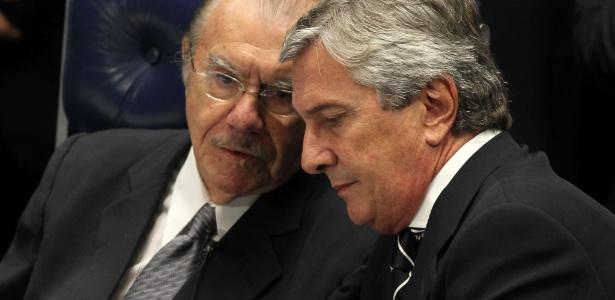 Sarney participa, ao lado de Fernando Collor de Mello, de sessão do Senado