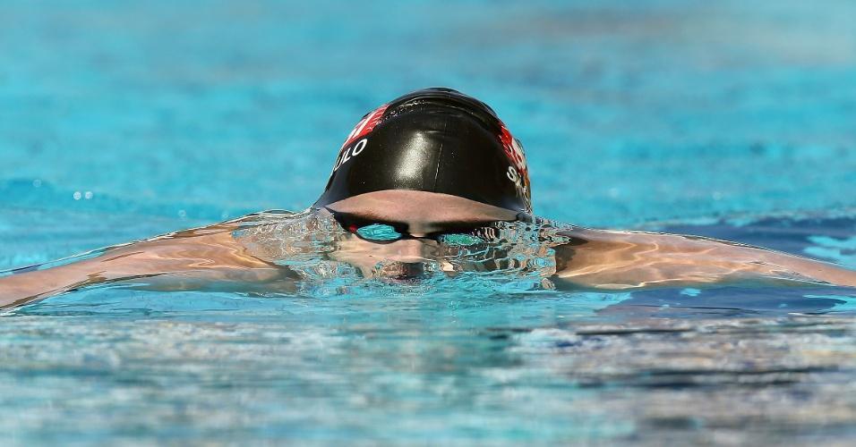 24.abr.2013 - Thiago Pereira nadou as eliminatórias dos 400 m medley, prova na qual foi prata em Londres 2012, mas não alcançou índice na manhã desta quarta