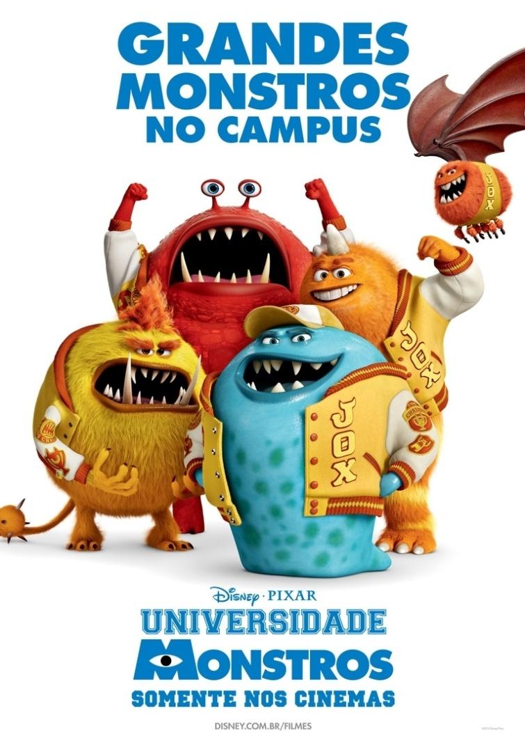 """Cartaz da fraternidade """"Grandes Monstros no Campus"""", com personagens do filme """"Universidade Monstros"""". A animação estreia dia 21 de junho no Brasil"""