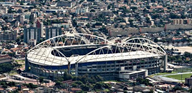 Vista aérea do Estádio Olímpico João Havelange, interditado desde março