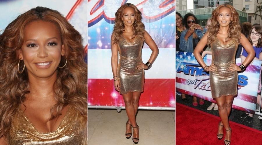"""24.abr.2013 - A ex-Spice Girl Mel B prestigiou o lançamento da oitava temporada do reality show """"America's Got Talent"""" na Califórnia, Estados Unidos"""