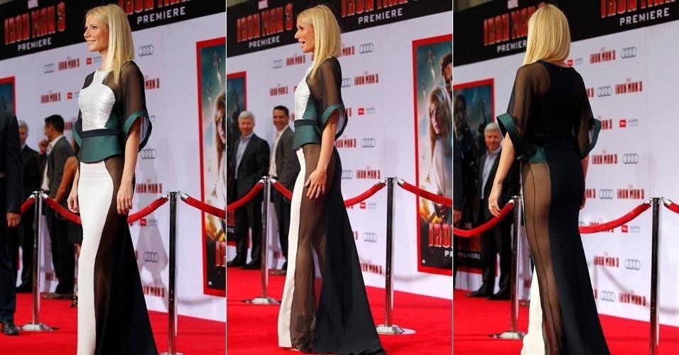 """24.abr.2013 - Gwyneth Paltrow abusou das transparências no vestido escolhido para o lançamento de """"Homem de Ferro 3"""". Ela interpreta Pepper Potts no filme"""