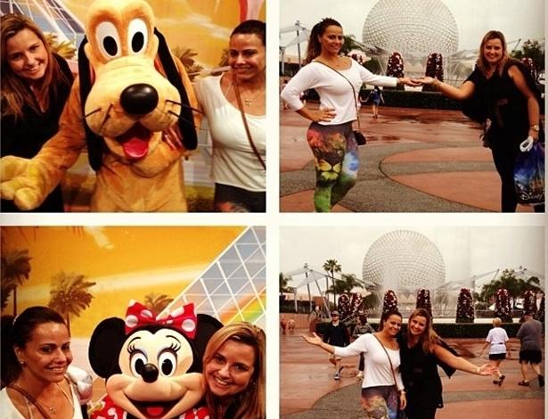 24.abr.2013 - Viva os sonhos! Modelo Vivi Araújo posa ao lado dos personagens da Disney, nos EUA